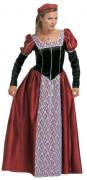 Disfarce de princesa medieval bordeaux e preto para mulher