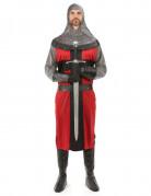 Disfarce de cavaleiro medieval vermelho para homem