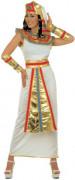 Disfarce de rainha do Egipto branco e dourado mulher