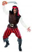 Disfarce de pirata às riscas vermelhas homem