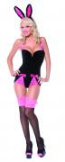 Disfarce coelhinha sexy preto e cor-de-rosa para mulher