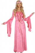 Disfarce de princesa medieval cor-de-rosa para mulher