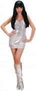 Vestido disco prateado mulher