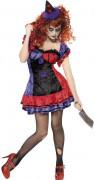 Disfarce de palhaço terrorizante mulher Halloween