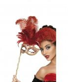 Máscara veneziana de penas vermelhas adulto