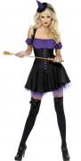 Disfarce bruxa sexy violeta mulher Halloween