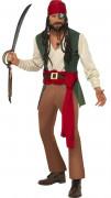 Disfarce de pirata bege e verde homem