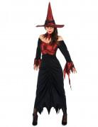 Disfarce bruxa mulher Halloween preto e vermelho