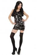 Vestido com lantejoulas teias de aranha mulher