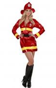 Disfarce de bombeira sexy em vermelho