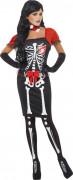 Disfarce esqueleto vermelho e preto para mulher Halloween