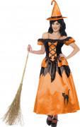 Disfarce de bruxa preto e laranja mulher Halloween