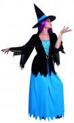 Disfarce bruxa azul e preto mulher Halloween