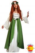 Disfarce medieval verde mangas bufantes mulher
