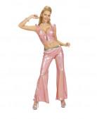 Top holográfico cor-de-rosa com laço sexy mulher