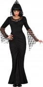 Disfarce bruxa renda preta mulher Halloween