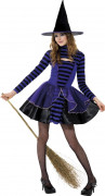 Disfarce bruxa violeta e preta adolescente Halloween