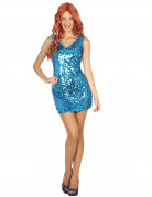 Disfarce vestido disco sexy azul mulher