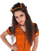 Bandolete com chifres cor de laranja brilhante diabinha menina