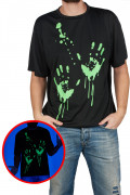 T-shirt pegadas mãos fosforescentes adulto Halloween