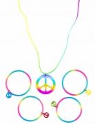 Colar e pulseira hippie multicores em plástico - adulto