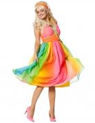 Disfarce vestido anos 60 arco-íris mulher