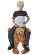 Disfarce criança às costas de um urso